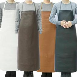 kitchen Apron Waterproof Faux Leather Chef Strap Bib Work Co