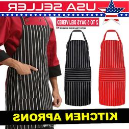 KITCHEN COOKING APRON CHEF CATERING WAITER NAVY CAFE RED - B