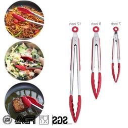 Kitchen Cooking Tongs Silicone Salad BBQ Bread Stainless Ste