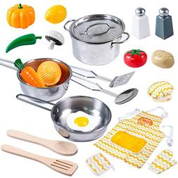 Kitchen Pretend Play Accessories Toys with Stainless Steel C