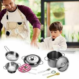 Kitchen Toys Set Stainless Steel Cooking Pots Pans Food Kids