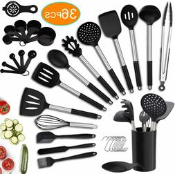 36PCS Kitchen Utensil Set,Silicone Cooking Utensils with Hol