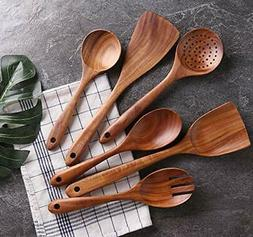 Kitchen Utensils Set Wooden Cooking Spoons Spatulas for Non-