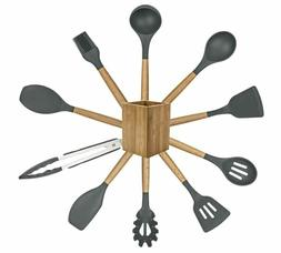 Kitchen Utensils,Silicone Cooking Utensils Set 11-Piece wood