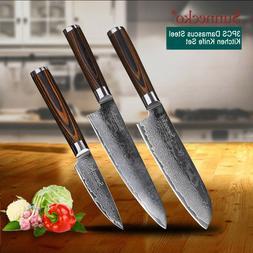 Kitchen Knife Set Damascus Steel Cooking Cutlery Chef Santok
