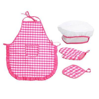 1 set kids hat apron glove pot