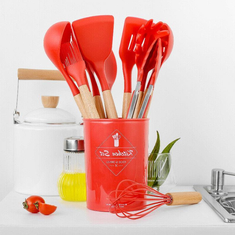 12 pcs Kitchen Silicone Cooking Utensils Set Non-stick Kitchenware Set