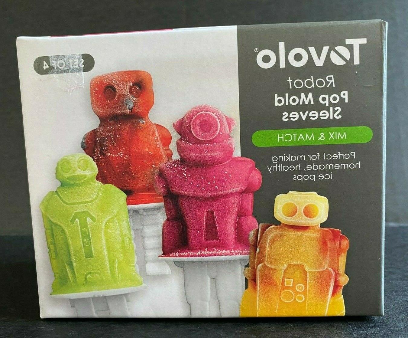 4 piece robot ice pop molds sleeves