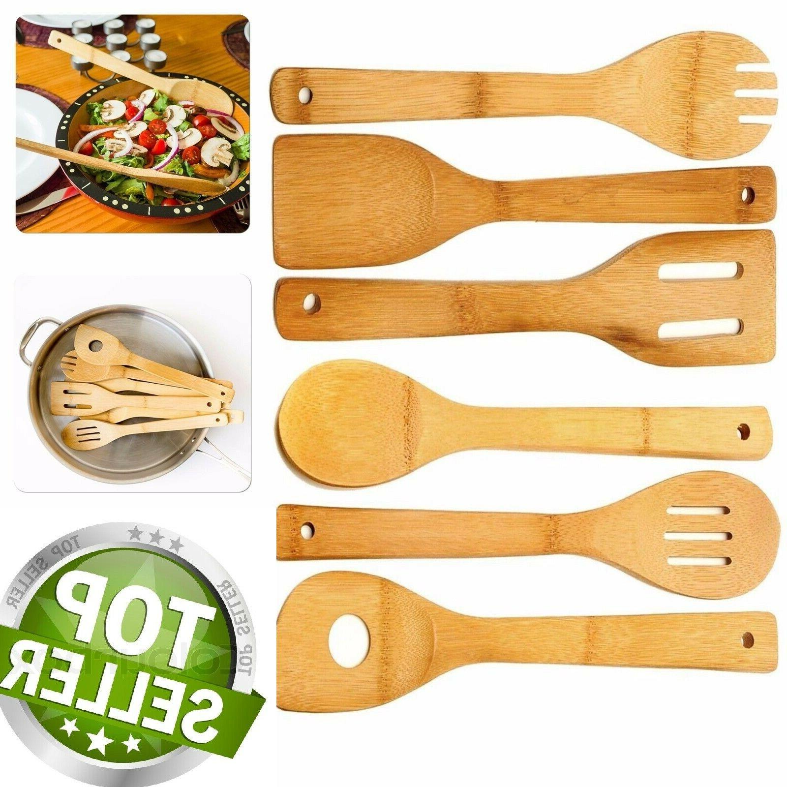 6 piece wooden cooking utensil set bamboo