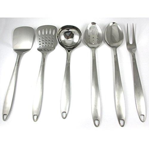 6 Stainless Steel Cooking Tools Server Spatula Spoon