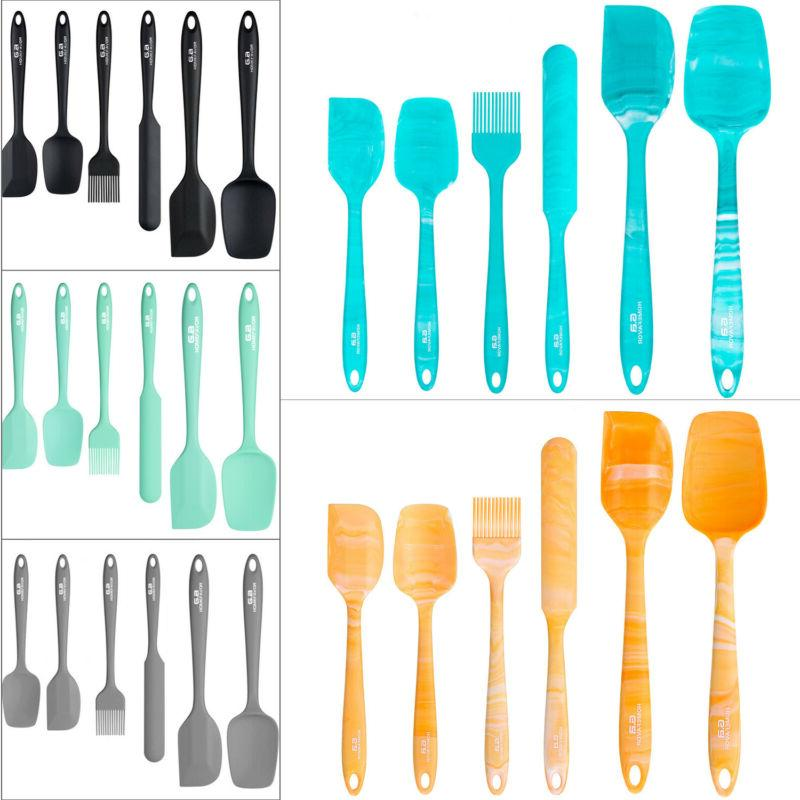 6pcs silicone utensil set heat resistant spatula
