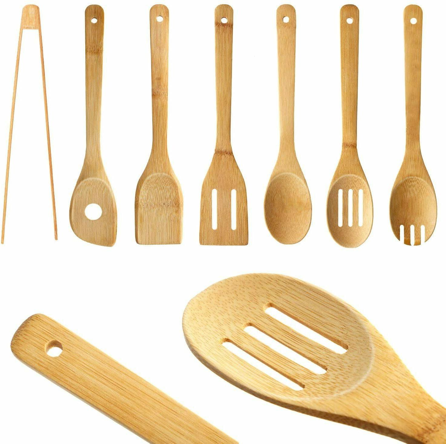 7 PCS Bamboo Kitchen Cooking Set Spatula Spoon Home Tools