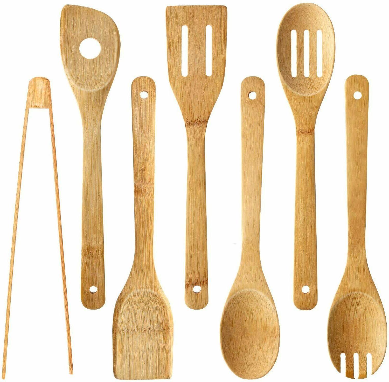 7 pcs bamboo kitchen cooking utensil set