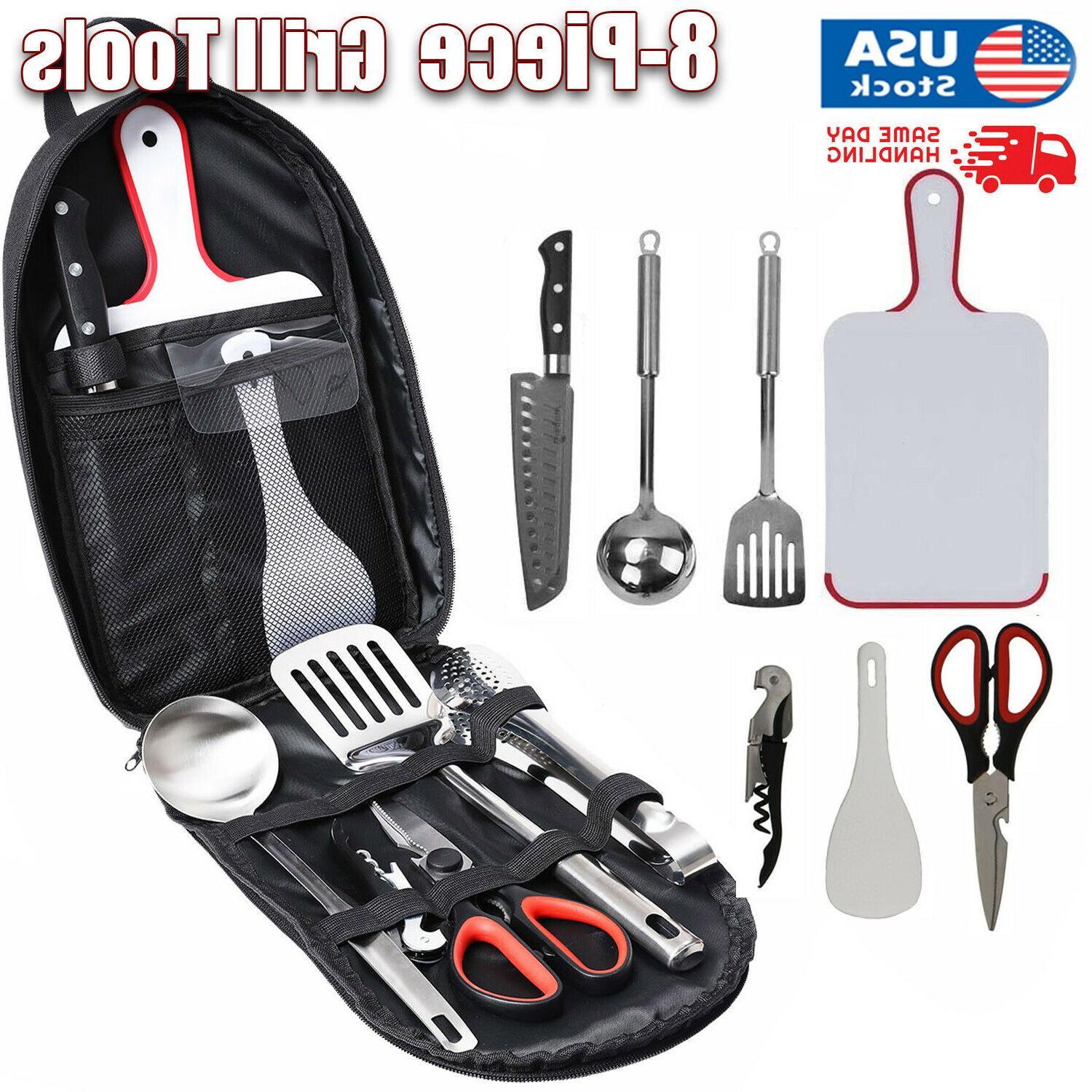 8 Piece Camping Cooking Utensils Set Outdoor Travel Camping