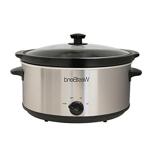 West Oval Manual Slow Cooker with Ceramic Cooking Vessel Glass Lid, 6-Quart, Size Steel