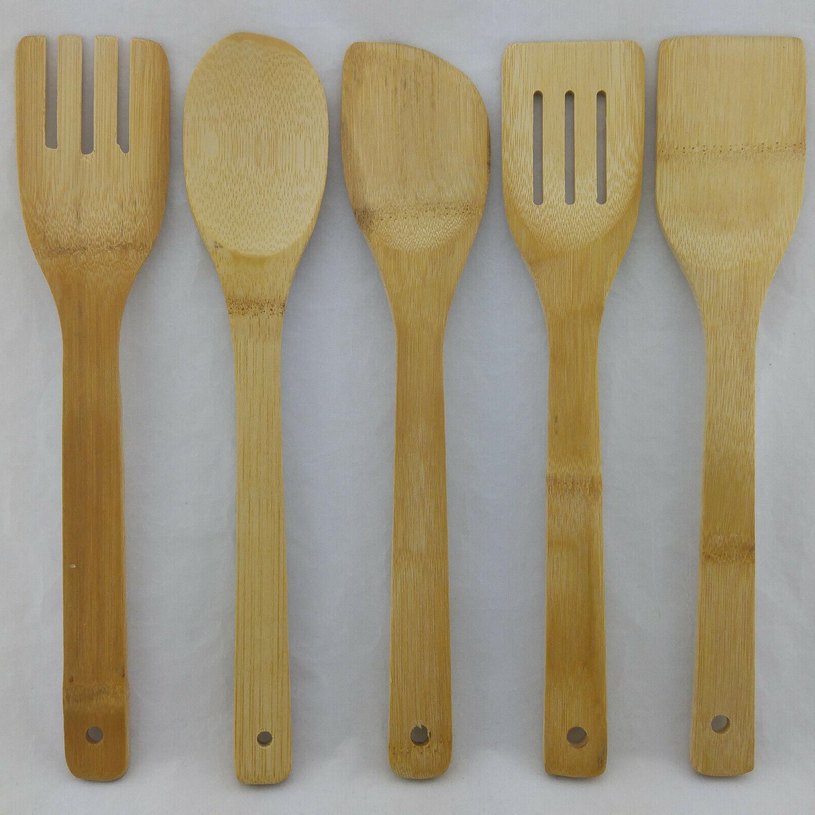 bamboo cooking utensils set of 5 wooden