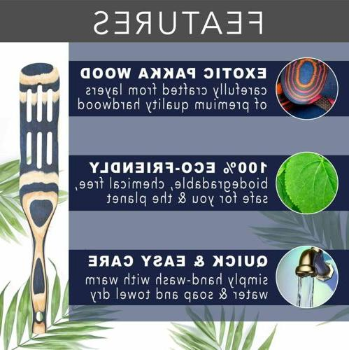 Island Bamboo Blue Wood 6-Piece Kitchen Set Wooden Cooking Spoons