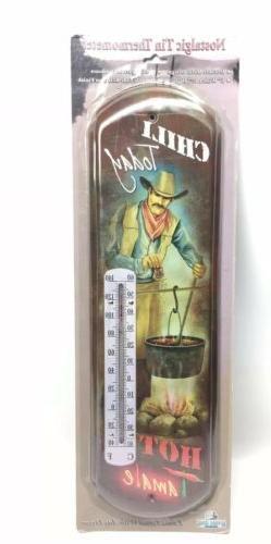 "'Chili Today, Hot Tamale"" Nostalgic Tin Thermometer w/ C"