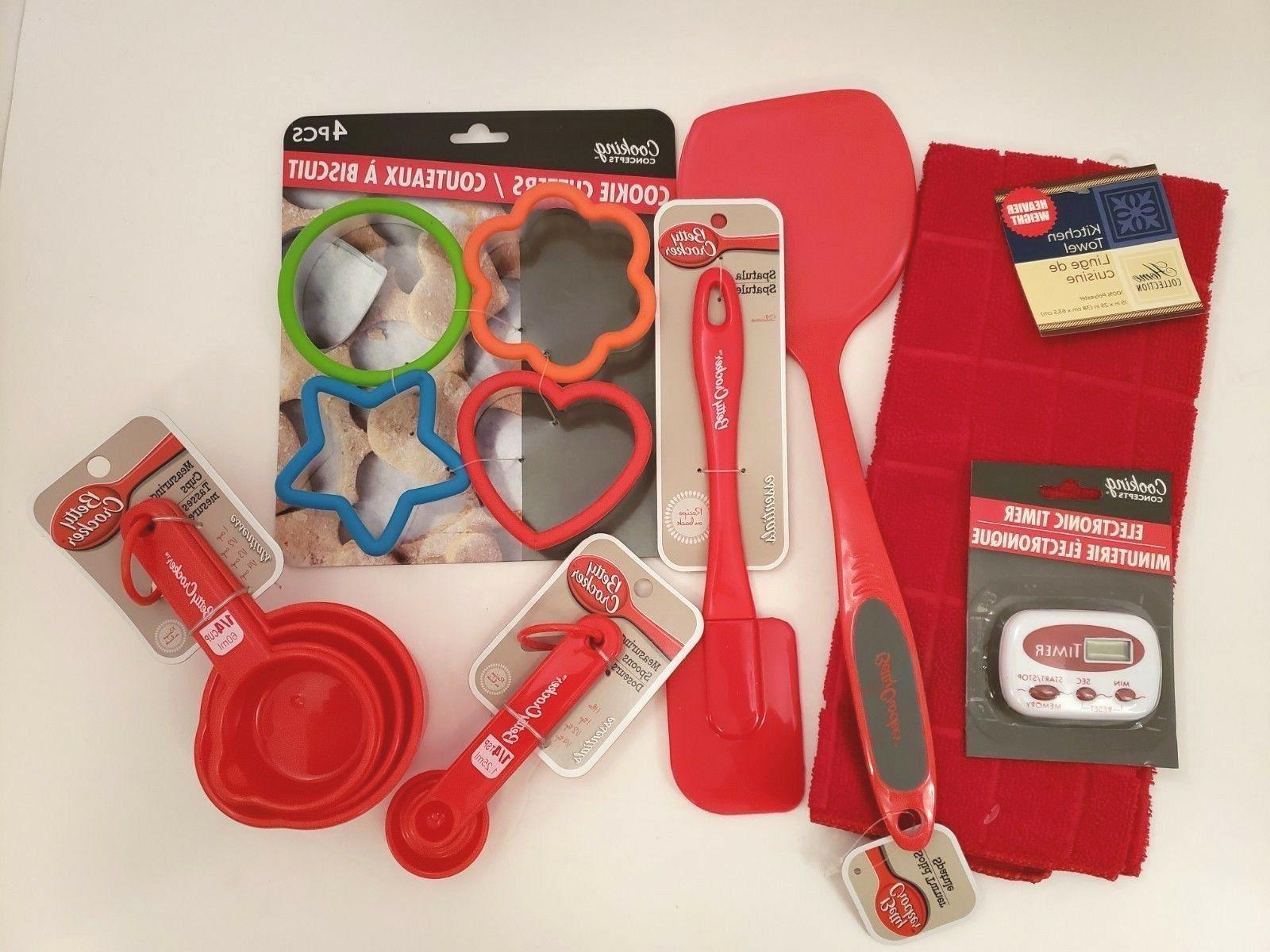 cooking baking kitchen utensils red 7 piece