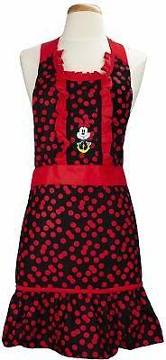 Disney Cotton Kitchen Cooking Apron – Printed Minnie- Red