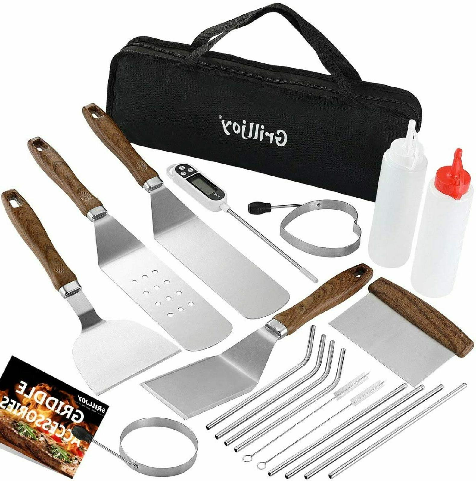 Heavy Duty Griddle Accessories Kit Spatulas Grilling Tools B
