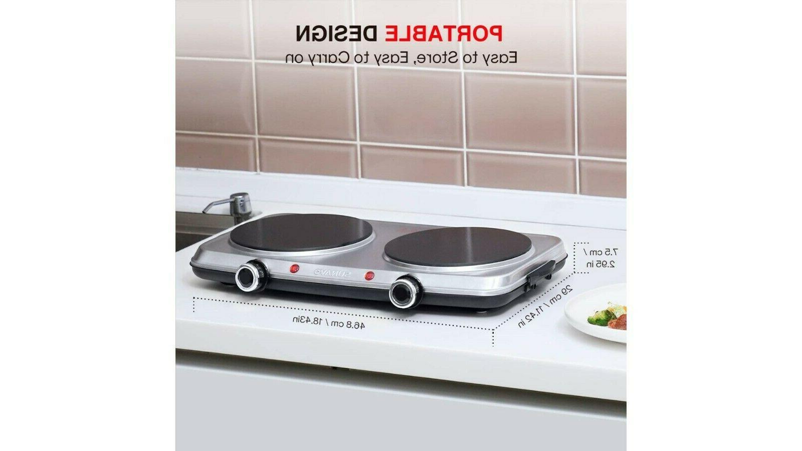 Hot Plates 1800W Electric Double Burner with Handles, 6 Power Level