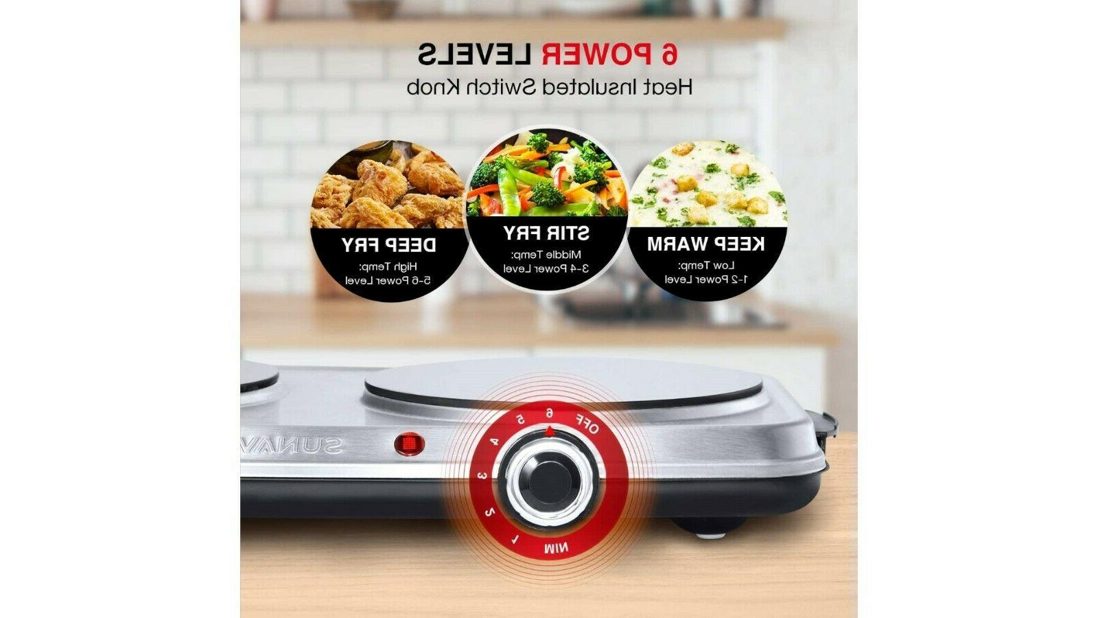 Hot Plates for 1800W Electric Double Burner with 6 Level