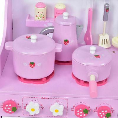 Kids Wooden Strawberry Cooking Playset Kitchen Toy Toddler