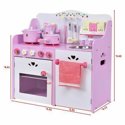 Kids Wooden Strawberry Cooking Playset Kitchen Toy