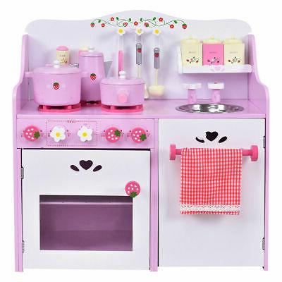kids wooden play set strawberry pretend cooking