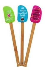 Kiss the Cook Whimsical Kitchen Spatula Set with Bamboo Hand