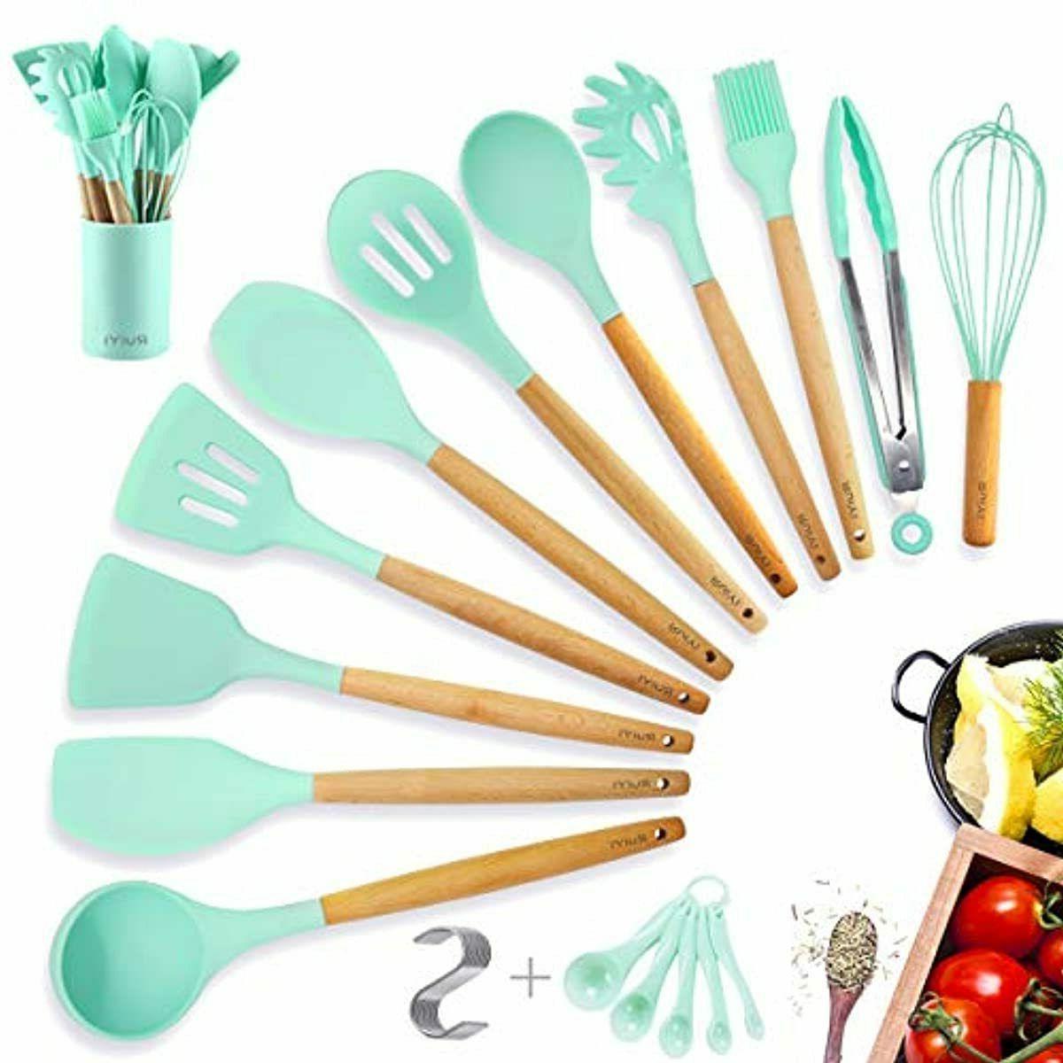kitchen utensil set silicone cooking utensils set