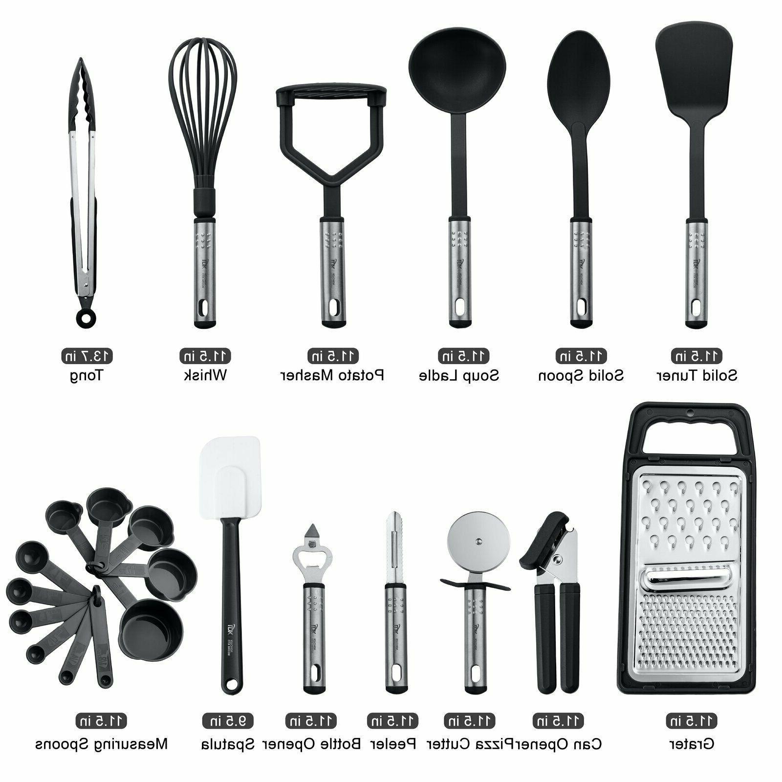 kitchen utensils set 23 piece nylon utinsels