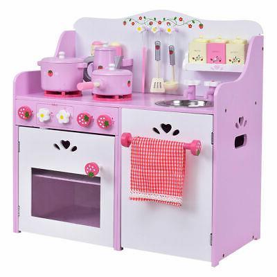 new kids wooden play set kitchen toy