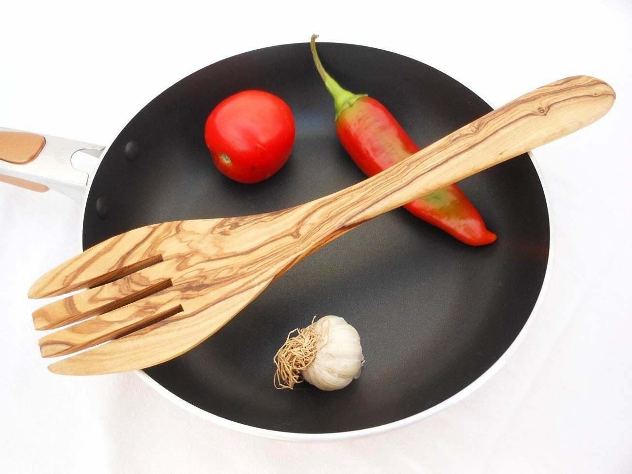 olive wood fork spatula spoon wood salad