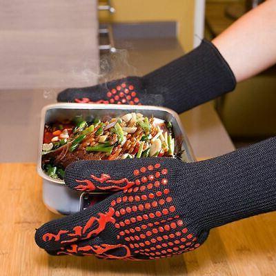 Pair BBQ Grill Glove Gloves Silicone Baking