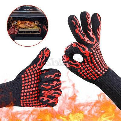 pair bbq grill cooking glove heat resistant