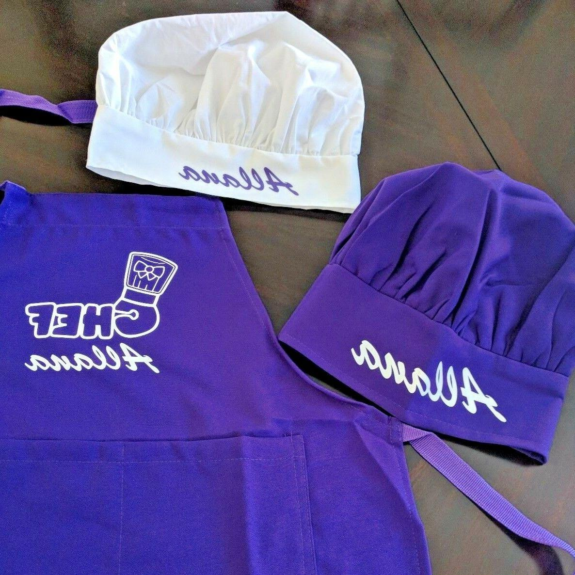 personalized kids chef apron and chef hat