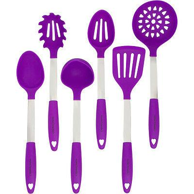 Purple Kitchen Utensil Set - Stainless Steel Silicone Heat R