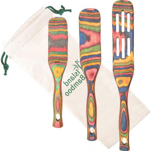 rainbow pakka wood 3 piece kitchen utensil