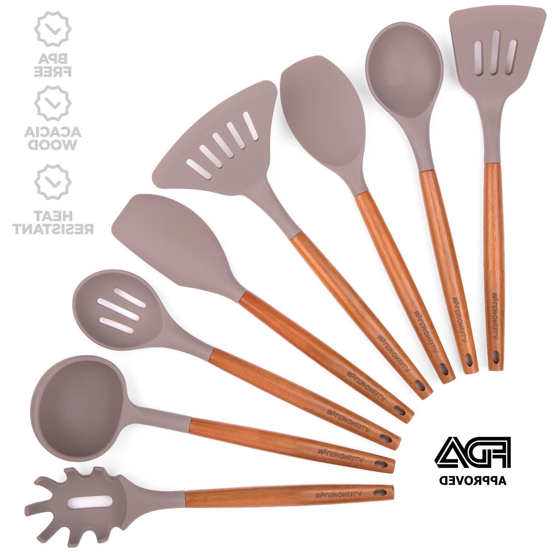 silicone kitchen utensil set acacia wood handles