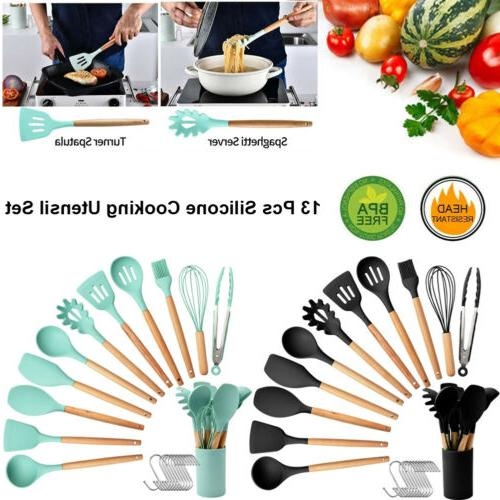 silicone kitchen utensil set heat resistant cooking