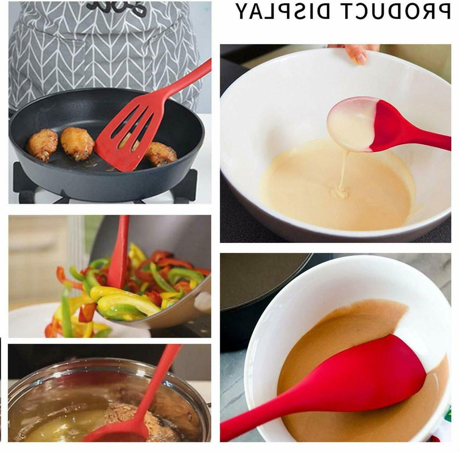 10 Pcs Silicone Cooking Non-Stick Spoon Turner