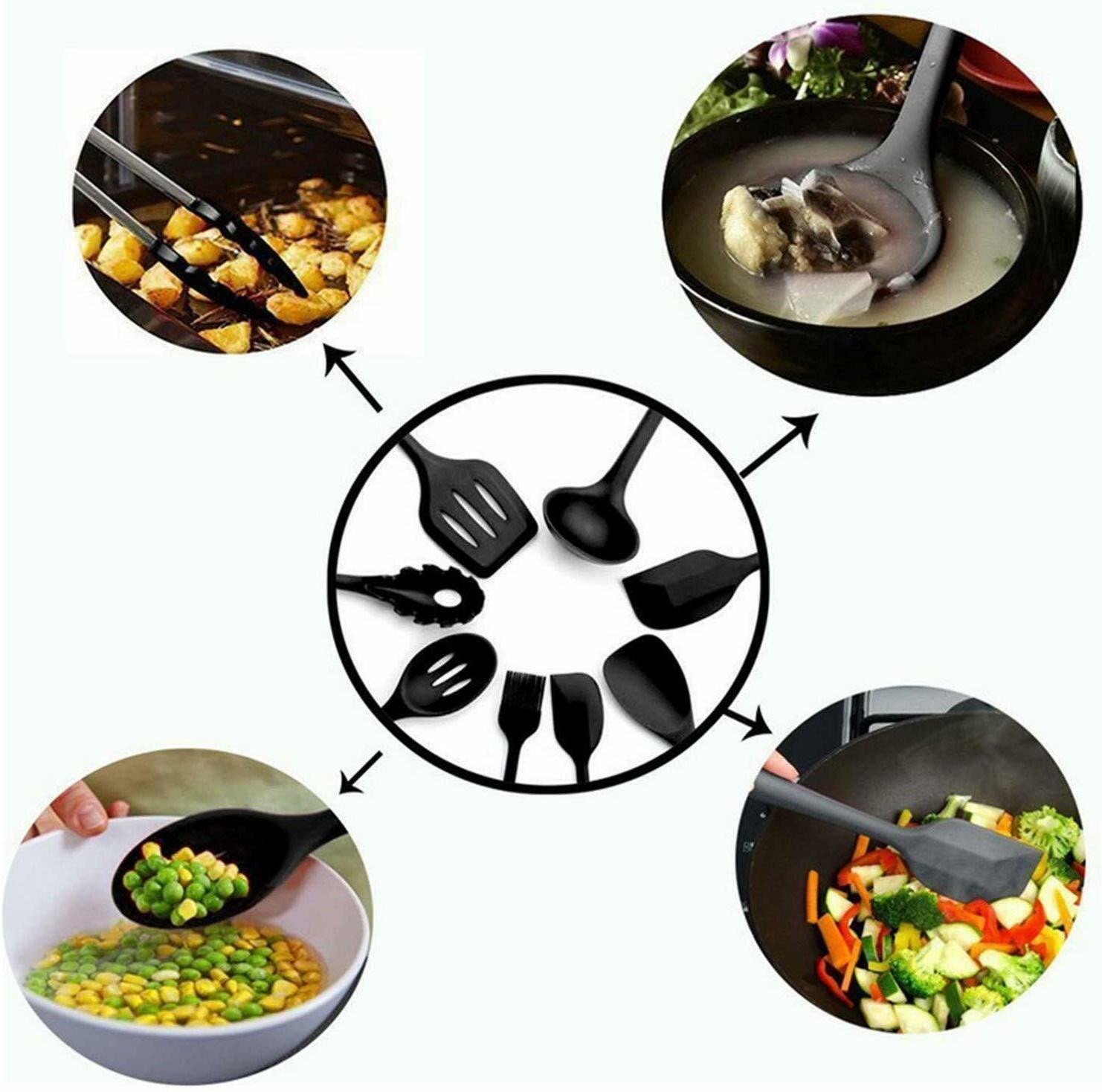 10 Silicone Cooking Set Non-Stick Spoon Baking Tools