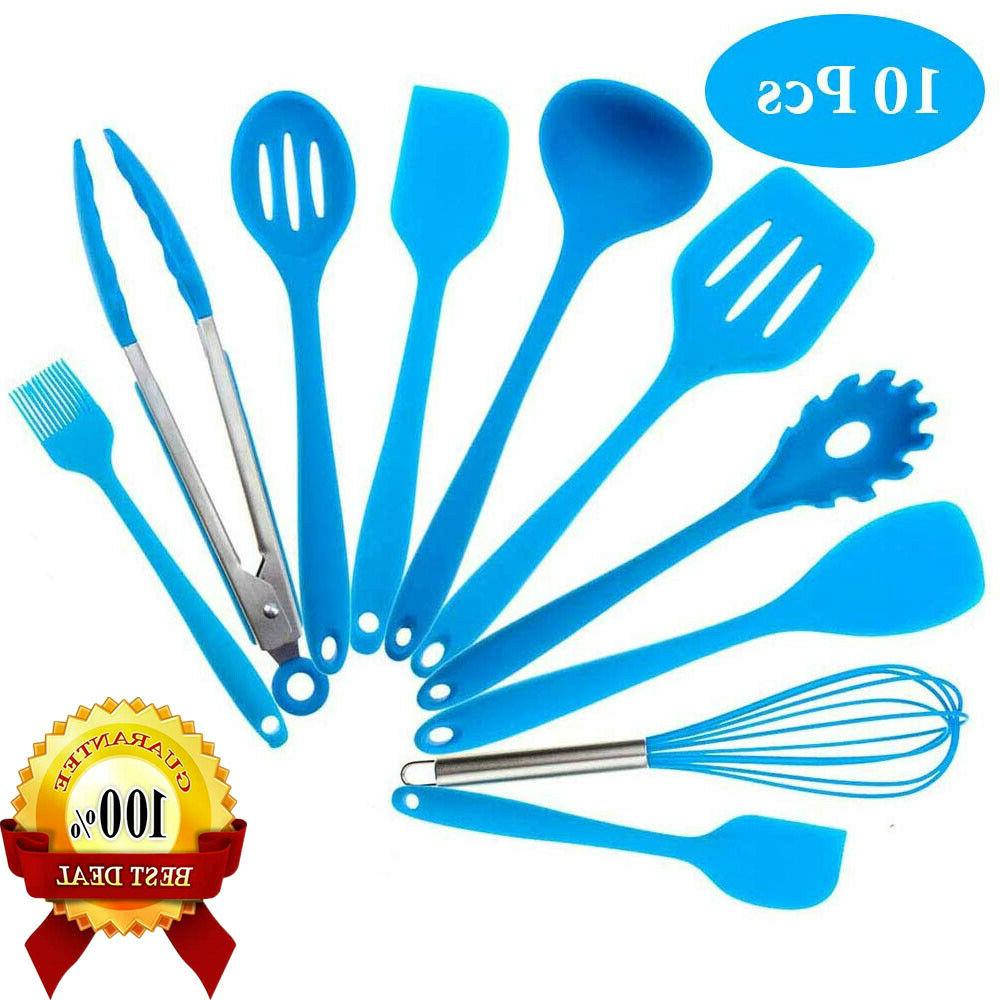 10 Pcs Silicone Kitchen Cooking Utensils Set Non-Stick Spoon