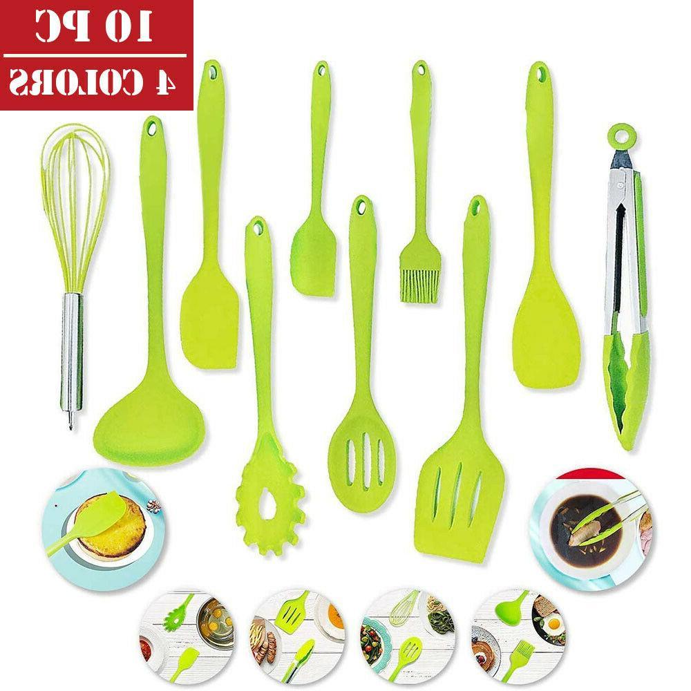 10 pcs silicone kitchen cooking utensils set