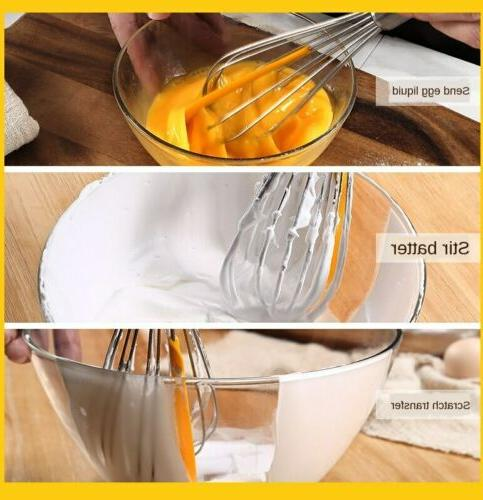 Stainless 1 Whisk Beater Silicone Spatula Kitchen