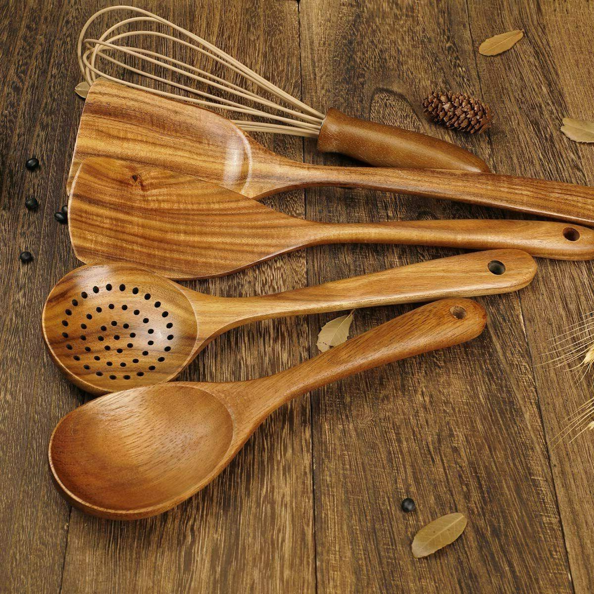 NEW Kitchen Utensils Set,Wooden Spoons for Nonstick Wood Utensil