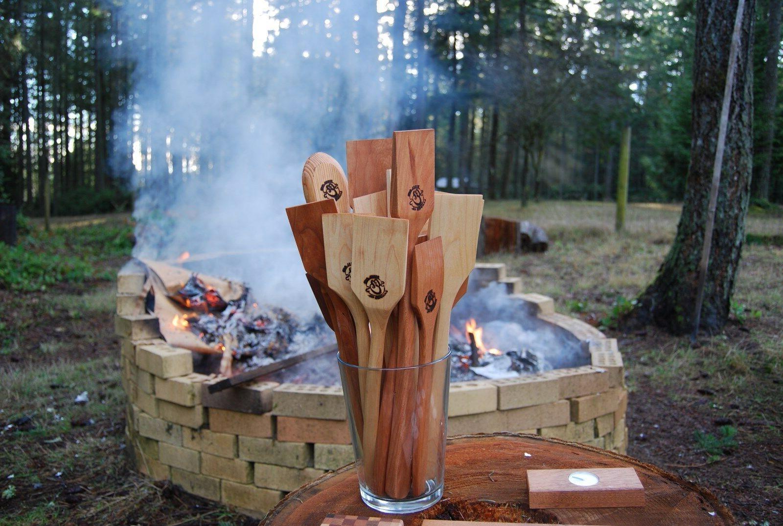 wooden custom cooking spatula large black cherry