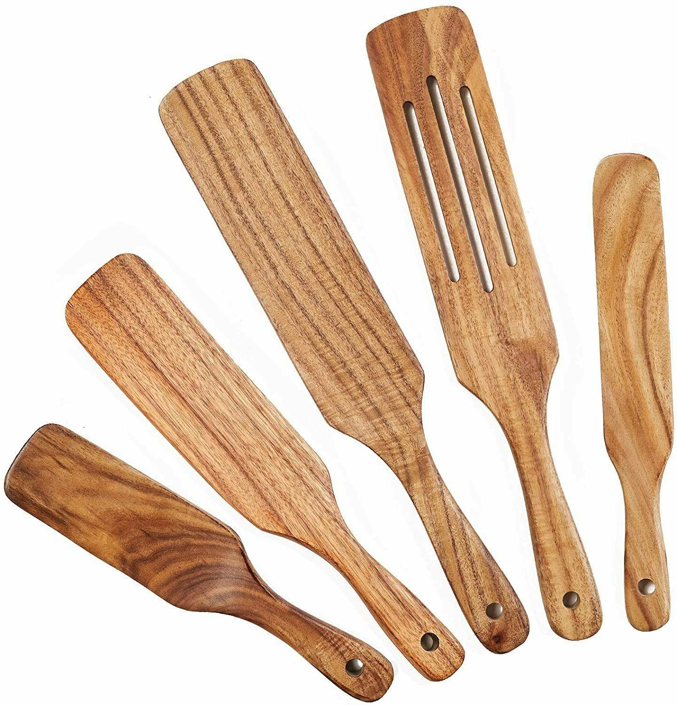 Wooden Spurtle Set, 5 Pcs Natural Teak Wooden Cooking Utensi